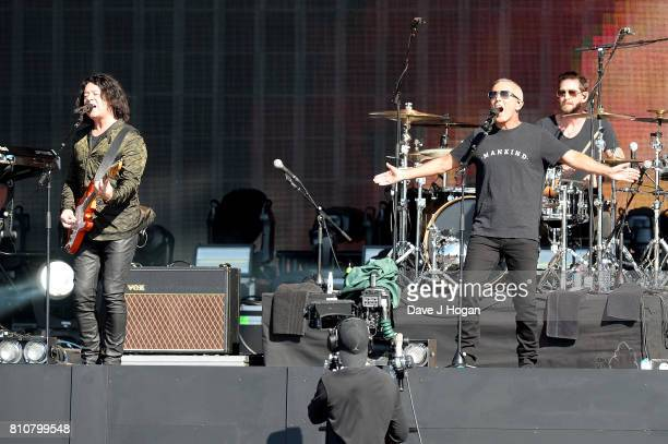 Roland Orzabal and Curt Smith of Tears for Fears perform on stage at the Barclaycard Presents British Summer Time Festival in Hyde Park on July 8...