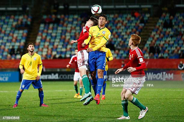 Roland Sallai of Hungary and Marcos Guilherme of Brazil battle for the ball during the FIFA U20 World Cup New Zealand 2015 Group E match between...