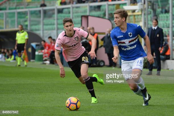 Roland Sallaj of Palermo competes for the ball with Dennis Praet of Sampdoria during the Serie A match between US Citta di Palermo and UC Sampdoria...