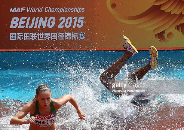 Rolanda Bell of Panama falls in the Women's 3000 metres steeplechase heats during day three of the 15th IAAF World Athletics Championships Beijing...