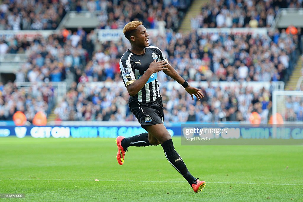 Rolando Aarons of Newcastle United celebrates scoring their second goal during the Barclays Premier League match between Newcastle United and Crystal...