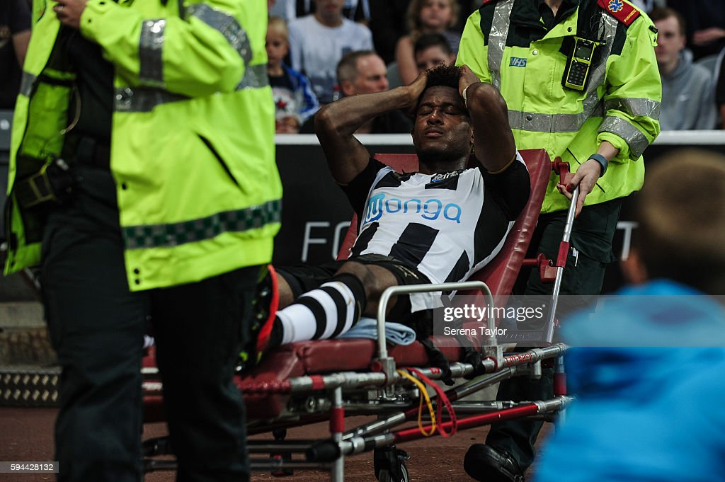 Rolando Aarons of Newcastle United is stretchered off during the EFL cup between Newcastle United and Cheltenham Town at StJames' Park on August 23...