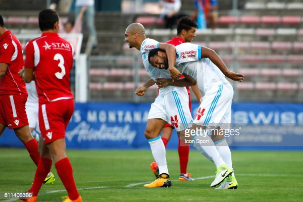 Rolando and Doria of Marseille during the friendly match between Olympique de Marseille and Etoile Sportive du Sahel on July 9 2017 in Martigues...