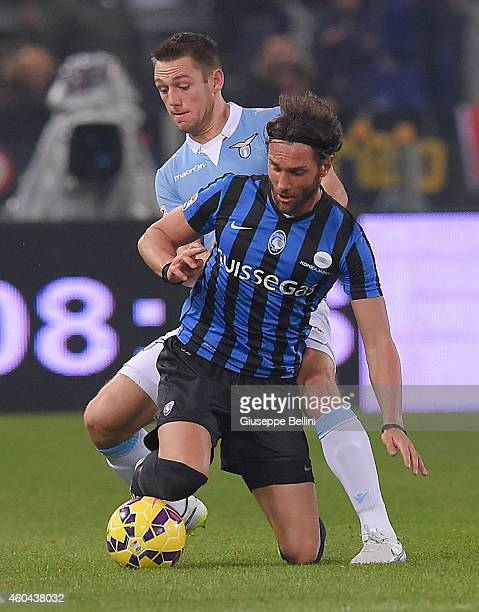 Rolando Bianchi of Atalanta BC and Stefan De Vrij of SS Lazio in action during the Serie A match between SS Lazio and Atalanta BC at Stadio Olimpico...