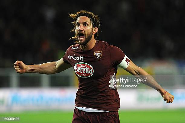 Rolando Bianchi of Torino FC celebrates a goal during the Serie A match between Torino FC and Calcio Catania at Stadio Olimpico di Torino on May 19...