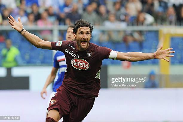Rolando Bianchi of Torino FC celebrates after scoring the opening goal during the Serie A match between UC Sampdoria and Torino FC at Stadio Luigi...