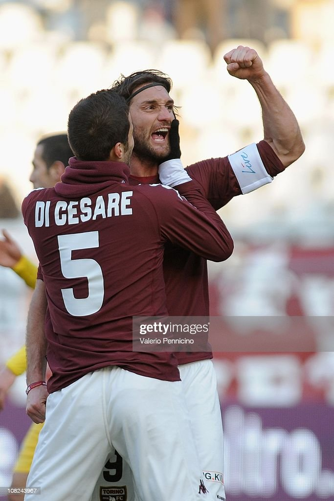Rolando Bianchi of Torino FC celebrates with Valerio Di Cesare after scoring the opening goal during the Serie B match between Torino FC and AS...