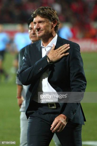 Rolando Cristante coach of Toluca greets the fans during the 15th round match between Tijuana and Toluca as part of the Torneo Clausura 2017 Liga MX...