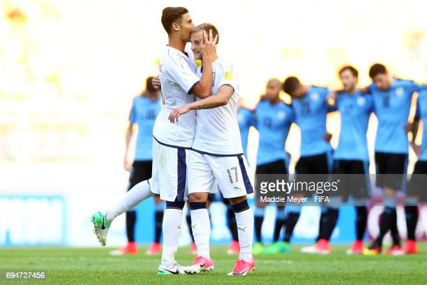 Rolando Mandragora kisses Giuseppe Panico of Italy before his penalty shot during the FIFA U20 World Cup Korea Republic 2017 3rd rank playoff match...