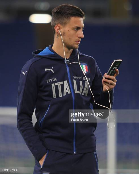 Rolando Mandragora of Italy looks on before the international friendly match between Italy U21 and Spain U21 at Olimpico Stadium on March 27 2017 in...
