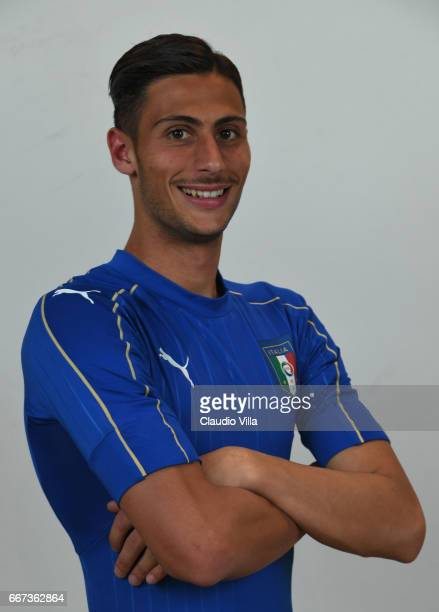 Rolando Mandragora of Italy poses during the official portrait session after the training session at the club's training ground at Coverciano at...