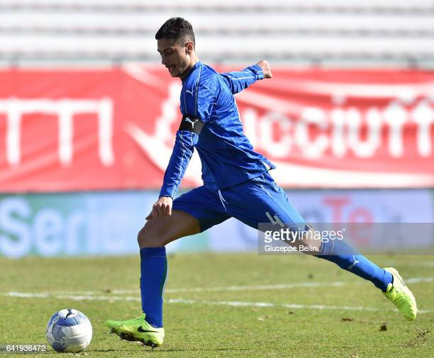 Rolando Mandragora of Italy U20 in action during the friendly match between Italy U20 and B Italia at Stadio Renato Curi on February 14 2017 in...