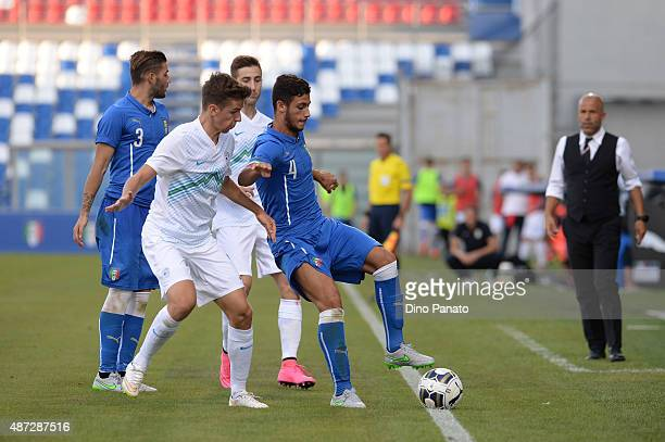Rolando Mandragora of Italy U21 competes during the 2017 UEFA European U21 Championships Qualifier between Italy U21 and Slovenia U21 at Mapei...