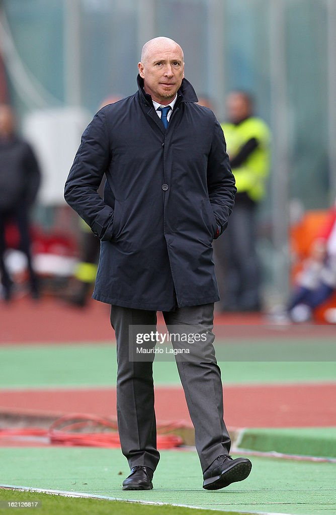 Rolando Maran, head coach of Catania looks on during the Serie A match between Calcio Catania and Bologna FC at Stadio Angelo Massimino on February 17, 2013 in Catania, Italy.