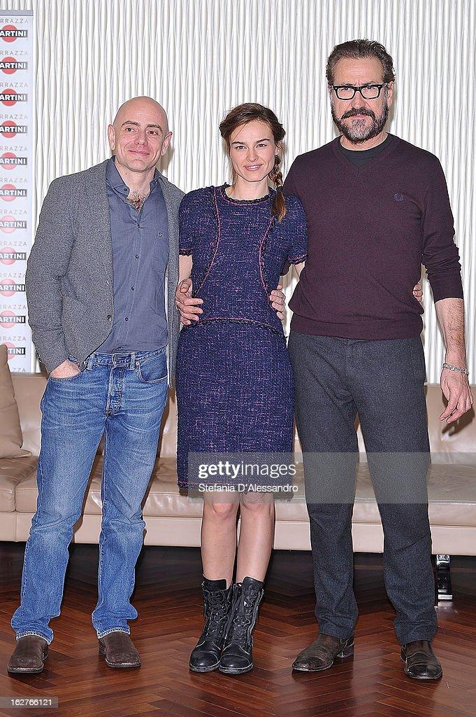 Rolando Ravello Kasia Smutniak and Marco Giallini attend 'Tutti Contro Tutti' Photocall on February 26 2013 in Milan Italy
