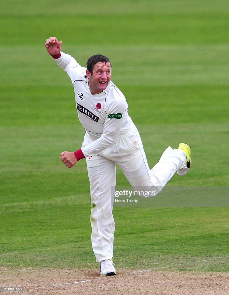 Roleof Van Der Merwe of Somerset bowls during Day One of the Specsavers County Championship match between Somerset and Lancashire at the County Ground on May 01, 2016 in Somerset, United Kingdom.