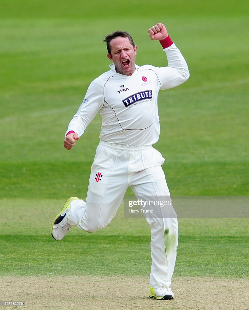 Roleof Van Der Merwe of Somerset celebrates after dismissing Steven Croft of Lancashire during Day Two of the Specsavers County Championship Division One match between Somerset and Lancashire at the County Ground on May 02, 2016 in Taunton, United Kingdom.