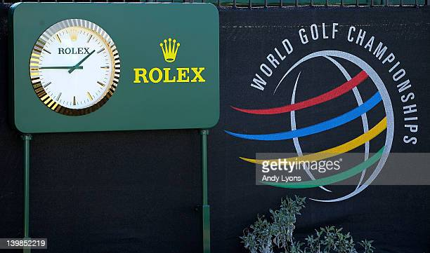 Rolex clock is seen alongside a World Golf Championships logo during the quarterfinal round of the World Golf ChampionshipsAccenture Match Play...