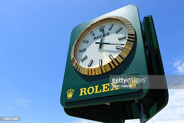 Rolex clock is seen during the Day One Foursome Matches of the 2011 Presidents Cup at Royal Melbourne Golf Course on November 17 2011 in Melbourne...