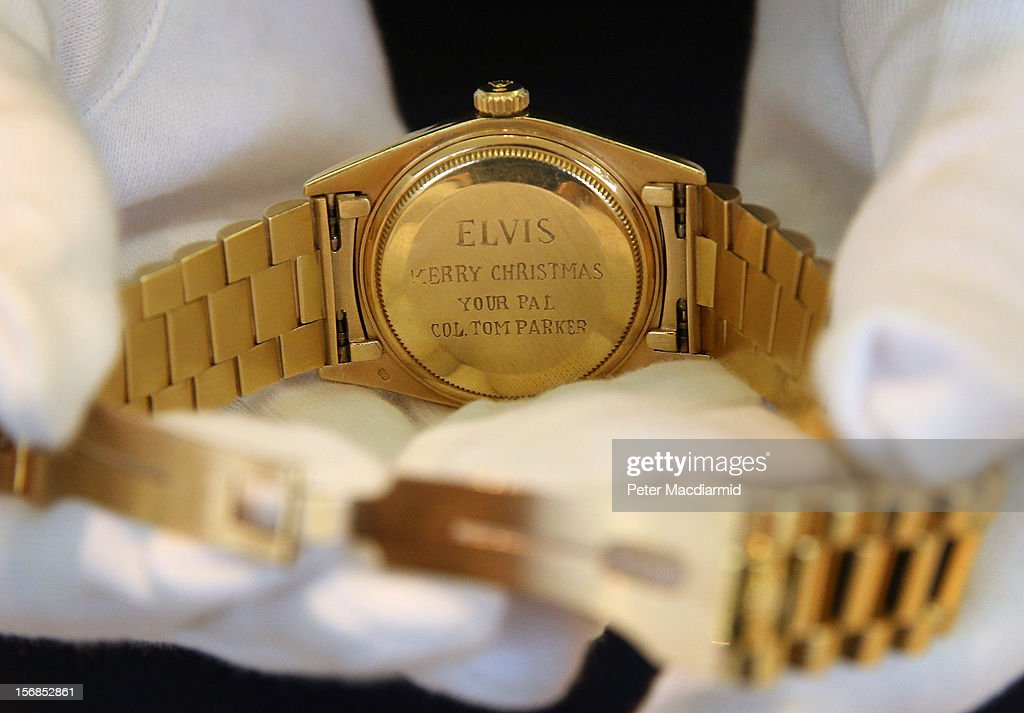 Rolex given to Elvis Presley by Colonel Tom Parker is shown at Christie's on November 23, 2012 in London, England. Estimated at £6000 - £8000 it forms part of Christie's Pop Culture sale on November 29 in London.