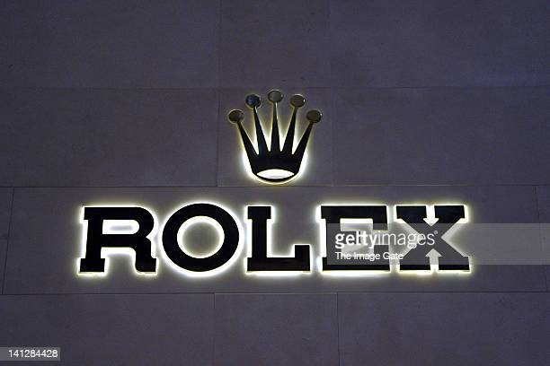 Rolex logo is displayed at BASELWORLD 2012 The World Watch And Jewellery Show on March 13 2012 in Basel Switzerland