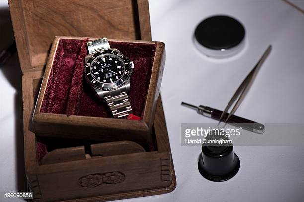 Rolex Submariner wristwatch worn by explorer Mike Horn during his ascent of Mount Makalu expected to fetch between 21'000 to 41'000 USD is shown...