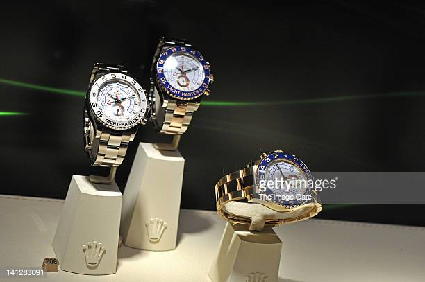 Rolex watches are displayed at BASELWORLD 2012 The World Watch And Jewellery Show on March 13 2012 in Basel Switzerland