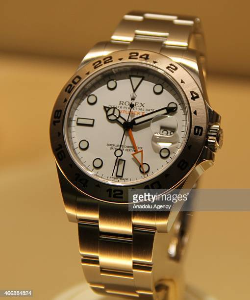 Rolex's wrist watch is on display during Baselworld 2015 watch and jewelry fair in Basel Switzerland on March 19 2015 The fair will be open till 26th...
