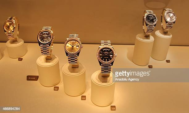 Rolex's wrist watches are on display during Baselworld 2015 watch and jewelry fair in Basel Switzerland on March 19 2015 The fair will be open till...