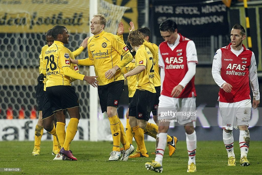 , Roley Bonevacia of Roda JC, Frank Demouge of Roda JC, Guus Hupperts of Roda JC, Steven Berghuis of AZ, Donny Gorter of AZ during the Dutch Eredivisie match between Roda JC Kerkrade and AZ Alkmaar at the Parkstad Limburg Stadium on february 16, 2013 in Kerkrade, The Netherlands