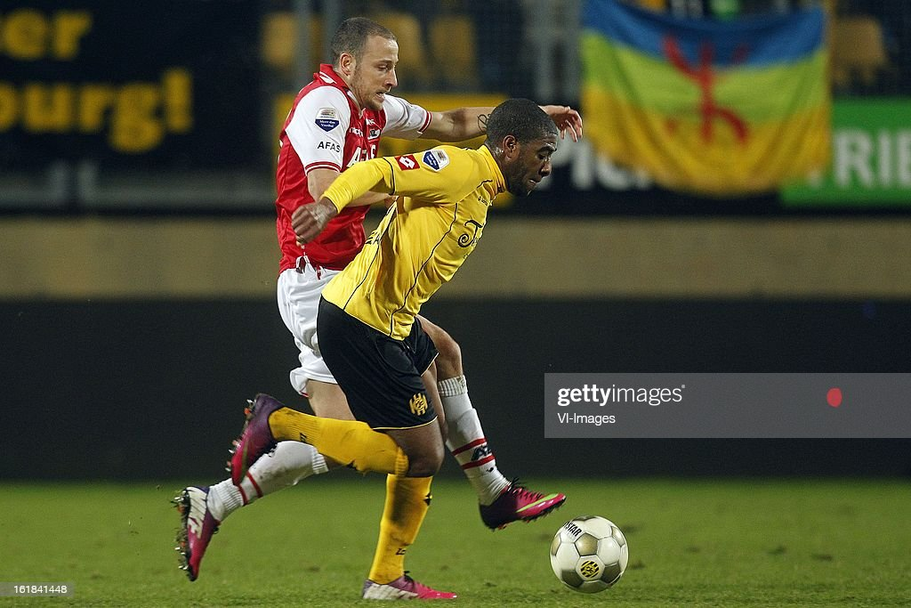 Roley Bonevacia of Roda JC (R), Roy Beerens of AZ (L) during the Dutch Eredivisie match between Roda JC Kerkrade and AZ Alkmaar at the Parkstad Limburg Stadium on february 16, 2013 in Kerkrade, The Netherlands