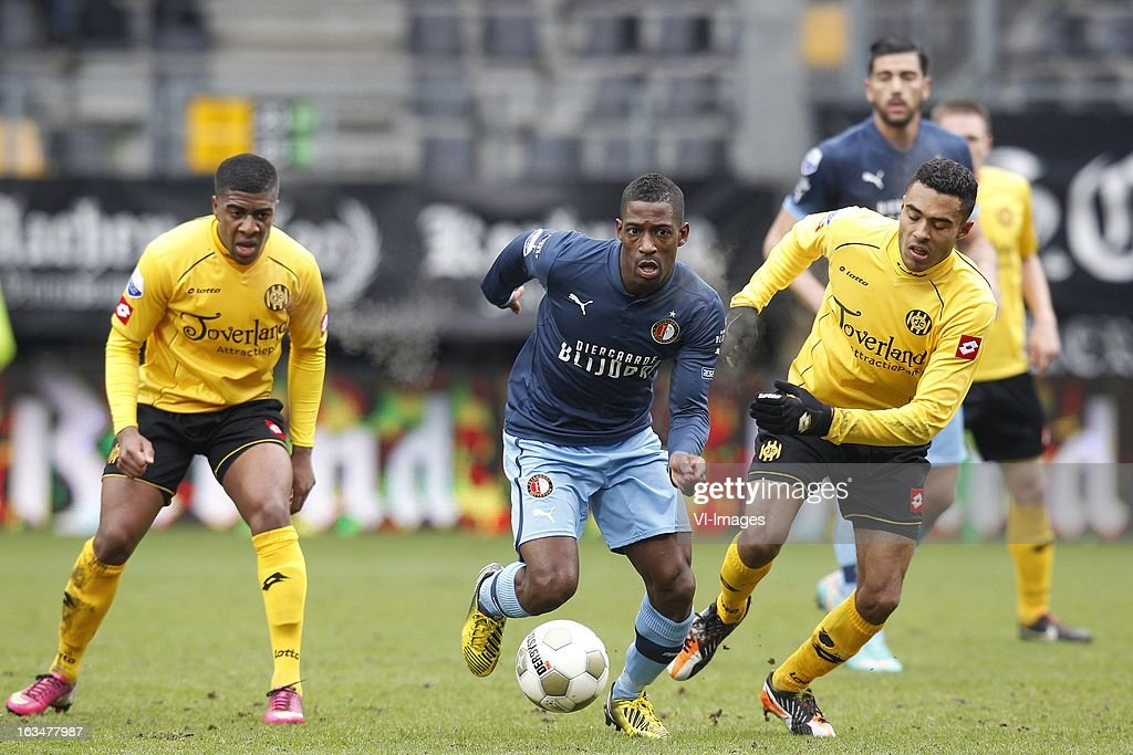 , Roley Bonevacia of Roda JC, Ruben Schaken of Feyenoord, Abel Tamata of Roda JC during the Dutch Eredivisie match between Roda JC Kerkrade and Feyenoord at the Parkstad Limburg on march 10, 2013 in Kerkrade, The Netherlands