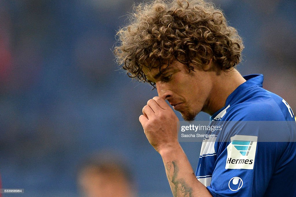 Rolf Feltscher of Duisburg reacts during the 2. Bundesliga playoff leg 2 match between MSV Duisburg and Wuerzburger Kickers at Schauinsland-Reisen-Arena on May 24, 2016 in Duisburg, Germany.