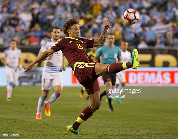 Rolf Feltscher of Venezuela kicks the ball against Uruguay during the 2016 Copa America Centenario Group C match at Lincoln Financial Field on June 9...