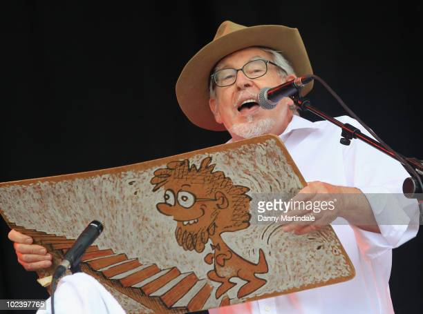 Rolf Harris performs on Day 2 of the Glastonbury Festival at Worthy Farm on June 25 2010 in Glastonbury England