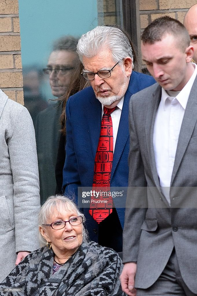 Rolf Harris sighted arriving at Southwark Crown Court on January 14 2014 in London England