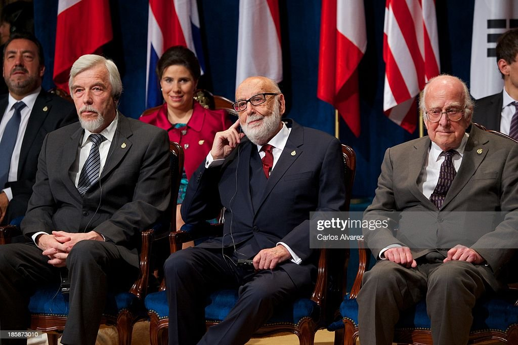 Rolf Heuer, Francois Englert and Peter Higgs attend the 'Prince of Asturias Awards 2013' ceremony at the Campoamor Theater on October 25, 2013 in Oviedo, Spain.
