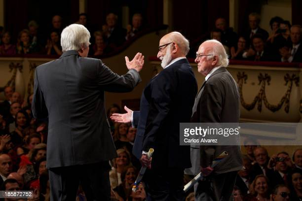 Rolf Heuer Francois Englert and Peter Higgs receive the Prince of Asturias Award for Technical Scientific Research during the 'Prince of Asturias...