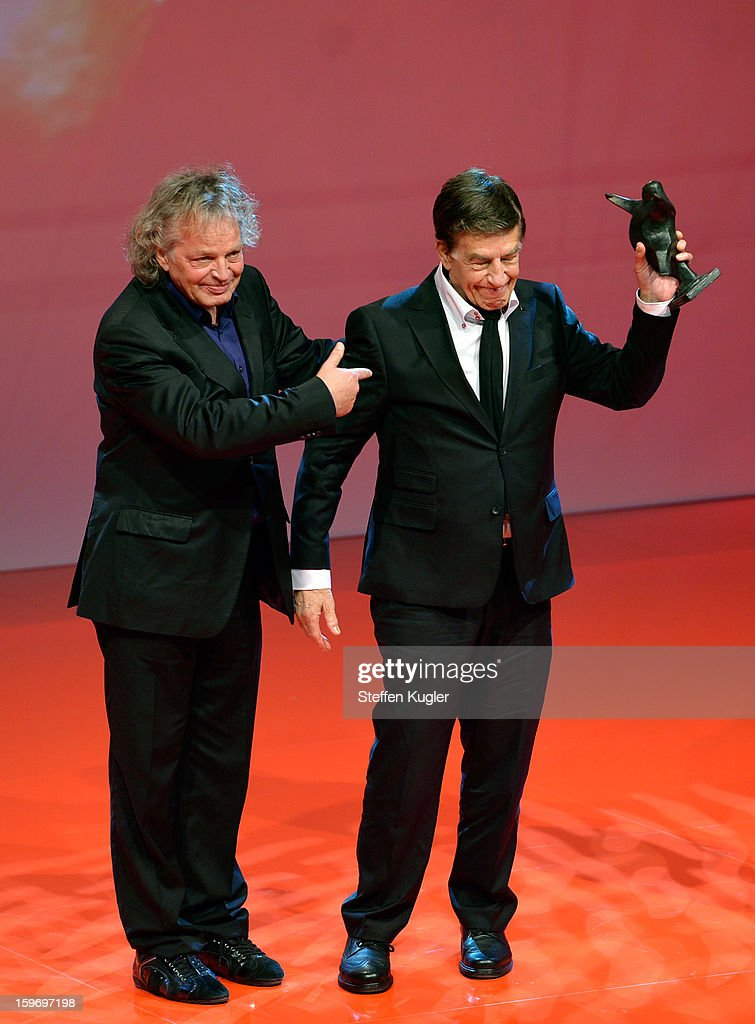 Rolf Kuehn (R) celebrates with his award and his brother Joachim Kuehn at the B.Z. Kulturpreis on January 18, 2013 in Berlin, Germany.