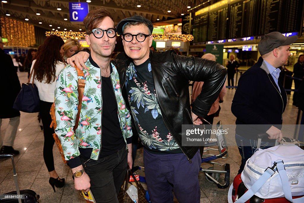 Rolf Scheider and his compainion Nils Schlender pose before the flight to Australia as a participant in the 2015 RTLTVShow 'Dschungelcamp Ich bin ein...
