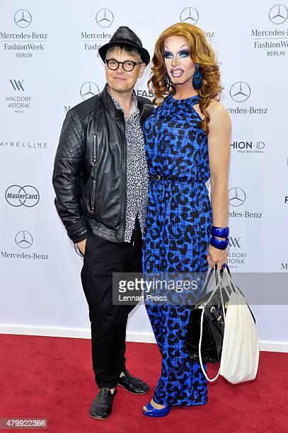 Rolf Scheider and Rodolfo Prevelato attend the Irene Luft show during the MercedesBenz Fashion Week Berlin Spring/Summer 2016 at Brandenburg Gate on...