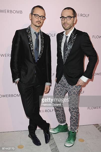 Rolf Snoeren and Viktor Horsting attend the Victor Rolf 'Flower Bomb' 5th Anniversary during Paris Fashion Week at Hotel Meurice on March 4 2010 in...