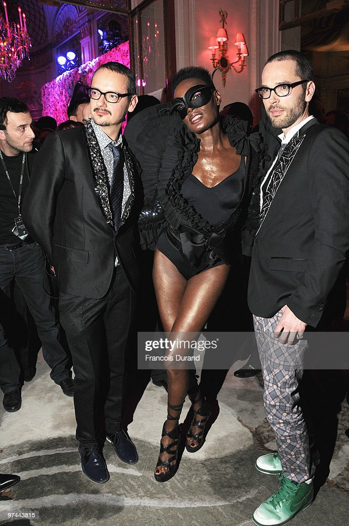 Rolf Snoeren, Grace Jones and Viktor Horsting attend the Victor & Rolf 'Flower Bomb' 5th Anniversary during Paris Fashion Week at Hotel Meurice on March 4, 2010 in Paris, France.