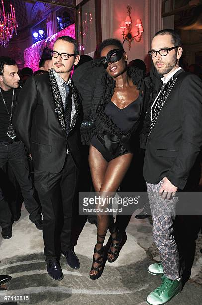 Rolf Snoeren Grace Jones and Viktor Horsting attend the Victor Rolf 'Flower Bomb' 5th Anniversary during Paris Fashion Week at Hotel Meurice on March...