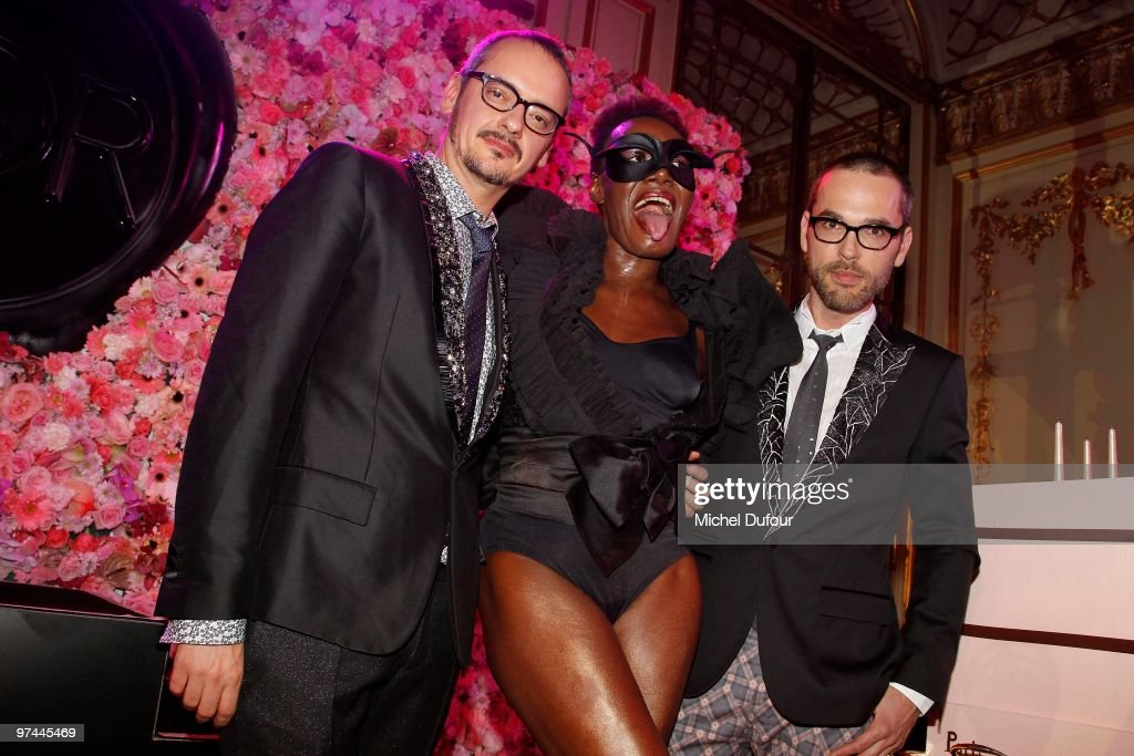 Rolf Snoeren, Grace Jones and Viktor Horsting attends the Victor & Rolf 'Flower Bomb' 5th Anniversary Party at Hotel Meurice on March 4, 2010 in Paris, France.