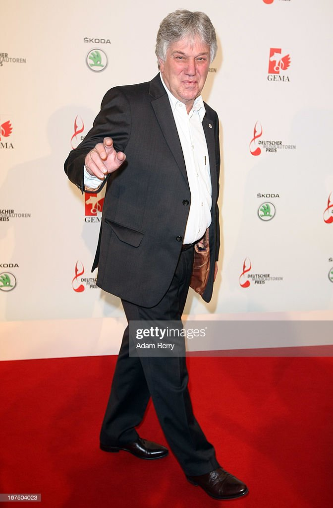Rolf Zuckowski arrives for the Deutscher Musikautorenpreis (German Songwriter Prize) 2013 ceremony at the Ritz Carlton hotel on April 25, 2013 in Berlin, Germany. The prize has been presented by GEMA (Gesellschaft fuer musikalische Auffuehrungs- und mechanische Vervielfaeltigungsrechte), the German society for musical performing and mechanical reproduction rights, since 2009.