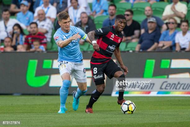 Rolieny Bonevacia of the Western Sydney Wanderers and Michael Jakobsen of Melbourne City contest the ball during Round 6 of the Hyundai ALeague...