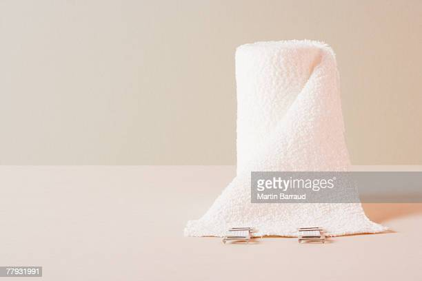 A roll of gauze sitting on a table