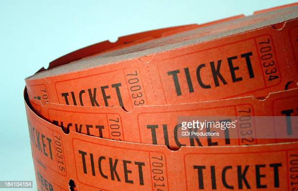 Roll of Tickets closeup on a blue background