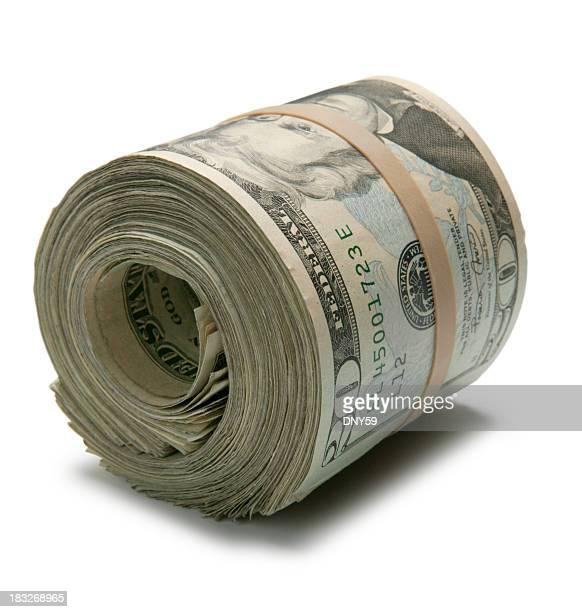 Rouleau de billets de 20 dollars